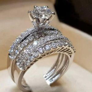 Good quality silver Plated white sapphire ring